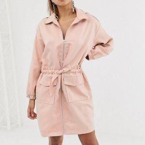 Missguided Sz 8 Oversized Zip Through Shirt Dress